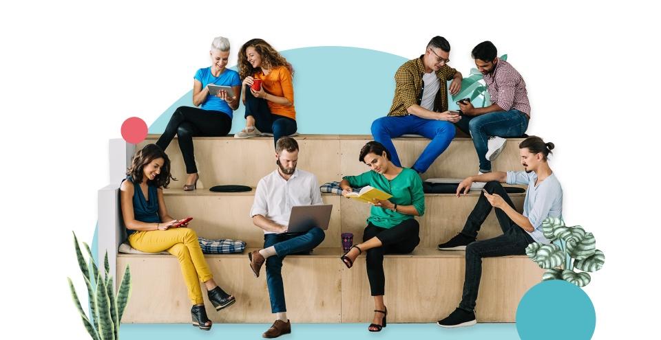 Åtta personer som sitter på en träbänk och jobbar på olika sätt